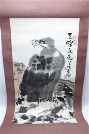 Sale 8869C - Lot 641 - Two Chinese Scrolls Featuring Mountain and Village Scene Together with An Eagle Example