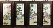Sale 8995H - Lot 32 - A set of four famille verte framed porcelain panels, height 91cm x width 36cm