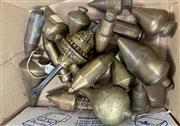 Sale 8951P - Lot 352 - Collection of 14 Various Brass Plumb Bobs (corroded)