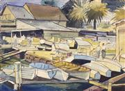 Sale 9001 - Lot 549 - Herbert Reginald Gallop (1890 - 1958) - Boat Slip 26 x 37 cm (frame: 46 x 56 x 2 cm)