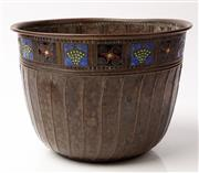Sale 9048A - Lot 20 - A WMF enamel and copper jardiniere, stamp mark to base, diameter 28cm