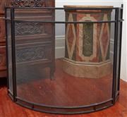 Sale 9081H - Lot 26 - A black mesh and iron adjustable fire screen