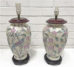 Sale 9108 - Lot 1075 - Pair of oriental ceramic table lamps on timber bases (h:42cm)