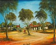 Sale 8575 - Lot 550 - Kevin Charles (Pro) Hart (1928 - 2006) - Landscape and Old Cars, Broken Hill 1989 24 x 29.5cm