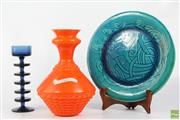 Sale 8608 - Lot 6 - Wedgwood Blue Glass Candle Holder (H: 21cm), together with Orange Glass Vase (H: 27cm) and Decorative Plate (Dia: 30cm)