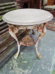 Sale 8634 - Lot 1080 - Probably Edwardian Cast Iron Pub Table, with timber top, the legs with Britannia & lower tier with Art Nouveau motifs