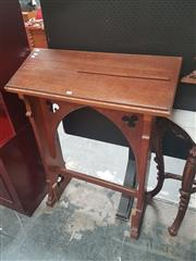 Sale 8666 - Lot 1033 - Early Oak Gothic Lectern, with pointed arch & trefoils between the supports