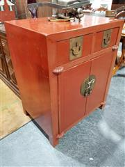 Sale 8740 - Lot 1026 - Oriental Red Lacquered Cabinet with Two Drawers & Doors