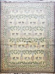 Sale 8760 - Lot 1098 - Beige Tone Woollen Rug with Floral Motifs & Dark Brown Border (375 x 275cm)