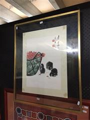 Sale 8771 - Lot 2074 - Chinese School - Chicks and Basket of Cherries ink and watercolour, (frame) -