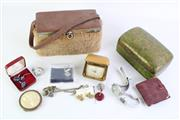 Sale 8840 - Lot 37 - A Small Collection of Jewellery inc Earrings, Cuff Links and Watches (As Found Untested) Together with Lacquered Box