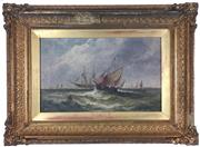 Sale 8995H - Lot 33 - C19th British School - W Rogers, Dutch Fishing Boat, oil on canvas in elaborate gilt frame, image size 39.5cm x 24cm, SLL and detail...