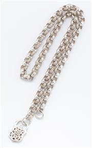 Sale 8926H - Lot 79 - An antique style silver belcher chain, with plain and engraved links to pierced, shield padlock clasp, total length 54cm, weight 70.44g
