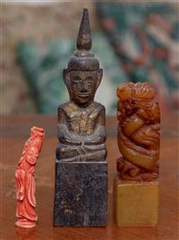 Sale 8963H - Lot 54 - A Chinese soapstone swirling dragon chop/seal together with a coral figure of Guanyin and a Thai gilt wood Buddha. Tallest 13cm
