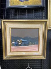 Sale 8995 - Lot 2036 - Ken Farrow Central Hotel Einesleigh  oil on board 43 x 47cm (frame) signed lower