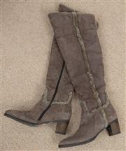 Sale 9066H - Lot 100 - A pair of Italian handmade suede calf length boots in taupe, wool lined, size 39.5