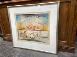 Sale 9091 - Lot 2067 - Artist Unknown Untitled, colour ethcing ,ed . 19/95, frame: 82 x 89 cm, signed illegibly lower right -