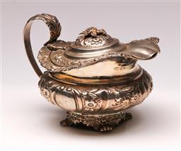 Sale 9122 - Lot 49 - Regency Hallmarked Sterling Silver Lidded Creamer (H:10 W:14cm)