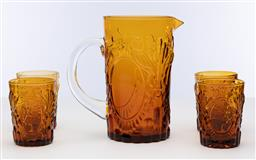 Sale 9245R - Lot 71 - A good vintage tall amber glass jug with 4 matching tumblers, all decorated with peacocks Ht: 30cm