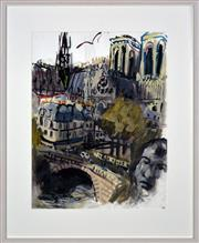 Sale 8434 - Lot 544 - Wendy Sharpe (1960 - ) - View from the Roof, Pont Louis-Philippe, 2007 65 x 60cm