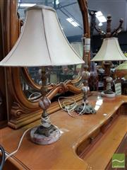 Sale 8465 - Lot 1052 - Set of 3 Marble and Brass table Lamps