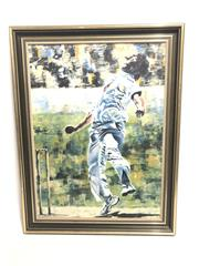Sale 8733 - Lot 90 - P Ashworth Painting of Denni Lillee