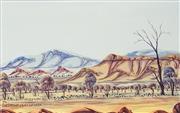 Sale 8808 - Lot 593 - Desmond Ebatarinja (1946 - ) - Central Australian Landscape 21.5 x 35cm
