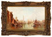 Sale 8804A - Lot 4 - Alfred Pollentine (1836 - 1890) - The Main Canal, Venice and St. Marks Square & Doges Palace in gilt gesso frame, image size 30cm...