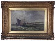 Sale 8995H - Lot 34 - C19th British School - W Rogers, Bowen, oil on canvas in elaborate gilt frame, image size 39.5cm x 24cm, details verso
