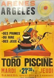Sale 8958 - Lot 2051 - Arenes Argeles - Toro Piscine Poster unframed