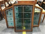 Sale 9039 - Lot 1098 - Arched Oak Window in 3 Sections w Green Bullseye Panes
