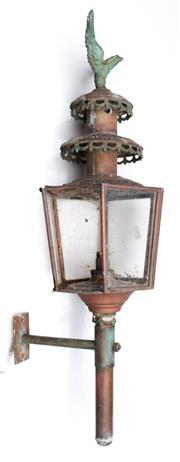 Sale 9090 - Lot 63 - Copper Wall mount lantern (h:65cm) - missing 1 glass panel