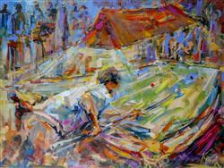 Sale 9093A - Lot 5013 - Jim Kinch (1939 - ) - The Snooker Game 57 x 76 cm (frame: 86 x 102 x 3 cm)