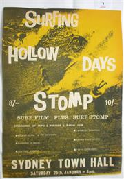 Sale 8431B - Lot 2 - Poster for Surfing, Hollow Days, Stomp Surf Film plus Surf Stomp at Sydney Town Hall in pre decimal currency days (pre 1966)