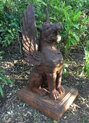 Sale 8579 - Lot 21 - A large cast iron Chimera statue with some surface rust, H 105cm