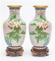 Sale 8590A - Lot 20 - A pair of cloisonne baluster vases together with timber bases, H 23cm