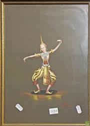 Sale 8604 - Lot 2084 - Painting of a Thai Dancer 42 x 31cm
