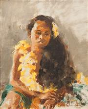 Sale 8640 - Lot 2012 - Molly Johnson (active 1960s) - Polynesian Girl with Yellow Wreath 49.5 x 40cm