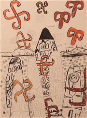 Sale 8663 - Lot 2053 - Peter Walsh (1958 - ) - Asmat Shield Drawings, 1993 76.5 x 56.5cm