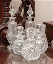 Sale 8804A - Lot 163 - Five cut glass bottles with stoppers, to include two pairs and another, the tallest H 24cm