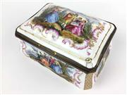 Sale 8995H - Lot 35 - A Sevres style jewellery casket decorated with scenes of courtiers, height 9cm, width 15cm, depth 10cm