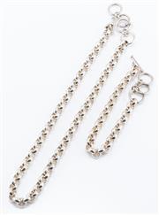Sale 8926H - Lot 81 - A matching silver belcher link chain and bracelet, length adjustable to toggle clasps; necklace 44cm-50cm, bracelet 20cm-24cm, total...