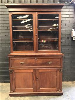 Sale 9085 - Lot 1057 - Mid-19th Century Mahogany Secretaire Bookcase, with two astragal doors, fitted secretaire section (appear slocked) & two timber pane...