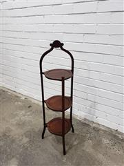 Sale 9059 - Lot 1081 - 1920s Mahogany Folding Cake Stand with Three Tiers (H:95 x W:30 x D:26cm)