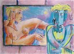 Sale 9143A - Lot 5037 - GRAHAM BOROUGH (1943 - ) - The Viewing 56 x 77 cm (frame: 88 x 108 x 3 cm)