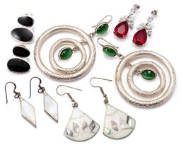 Sale 9149 - Lot 322 - FIVE PAIRS OF SILVER STONE SET EARRINGS; 2 pairs with stud fittings set with red and white zirconias and onyx, 2 pairs of mother of...