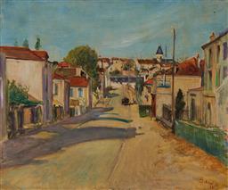 Sale 9195 - Lot 585 - LUCIEN ADRION (1889 - 1953) - Street Scene, 1926 45 x 54.5 cm (frame: 55 x 64 x 5 cm)