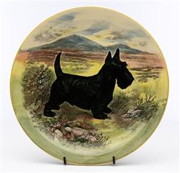 Sale 9245R - Lot 73 - A Royal Doulton cabinet plate decorated with a Scottish terrier C: 1930s, D: 26cm