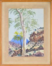 Sale 8297 - Lot 591 - Richard Moketarinja (1916 - 1983) - Gum Tree and Gorge 37 x 27cm