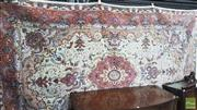 Sale 8375 - Lot 1022 - Persian Tabriz Carpet in Cream Tones with Blue Floral Patternation - certificate in office (325 x 200cm)